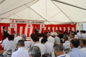 The mayor who says hello in the upper Arakawa water cycle center park opening ceremony