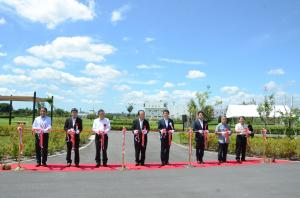 Tape cutting of open of upper Arakawa water cycle center park
